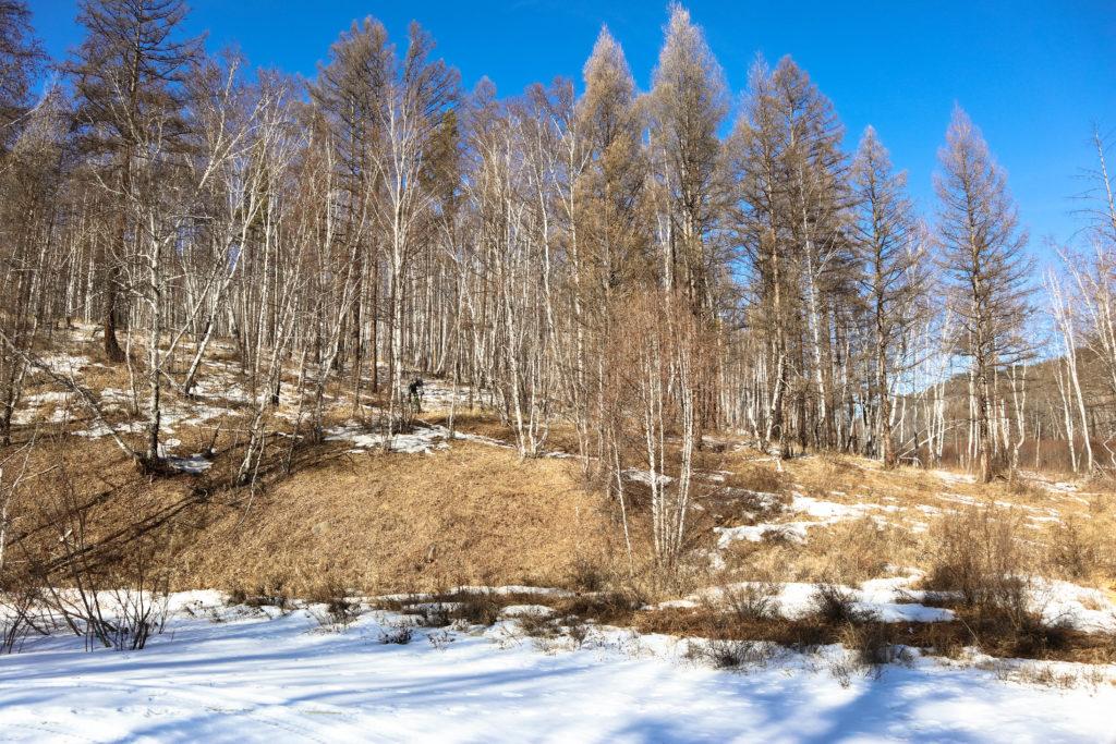 Спускаемся по снежному трейлу к замерзшей реке